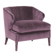 classic upholstered lounge chair in traditional style with curved back