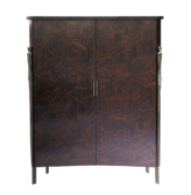 Concave ebony parquetry doors with bronze legs and granite top