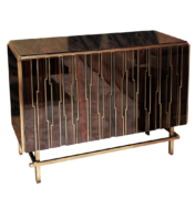 High gloss Macassar ebony and brass cabinet with vertical geometric design and brass base