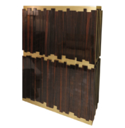offset panels of high-gloss ebony doors over brushed brass