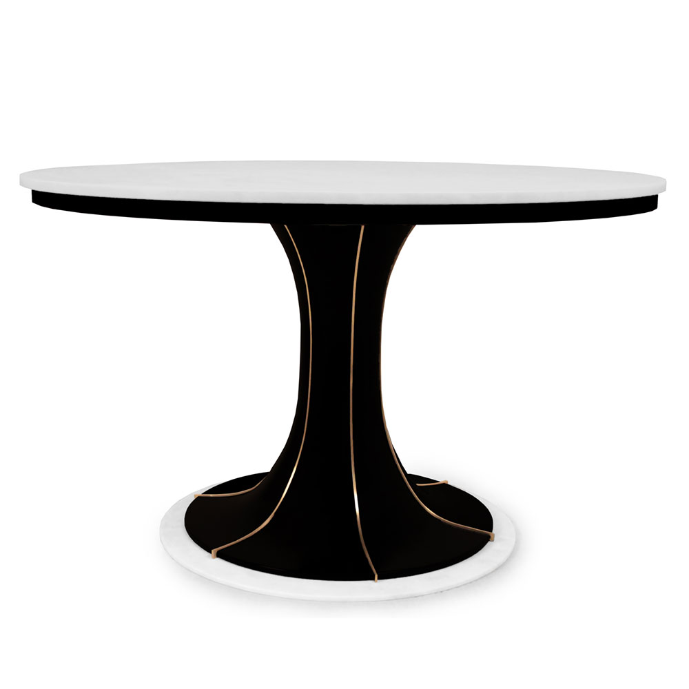 modern dining table in lacquer and brass with white marble top