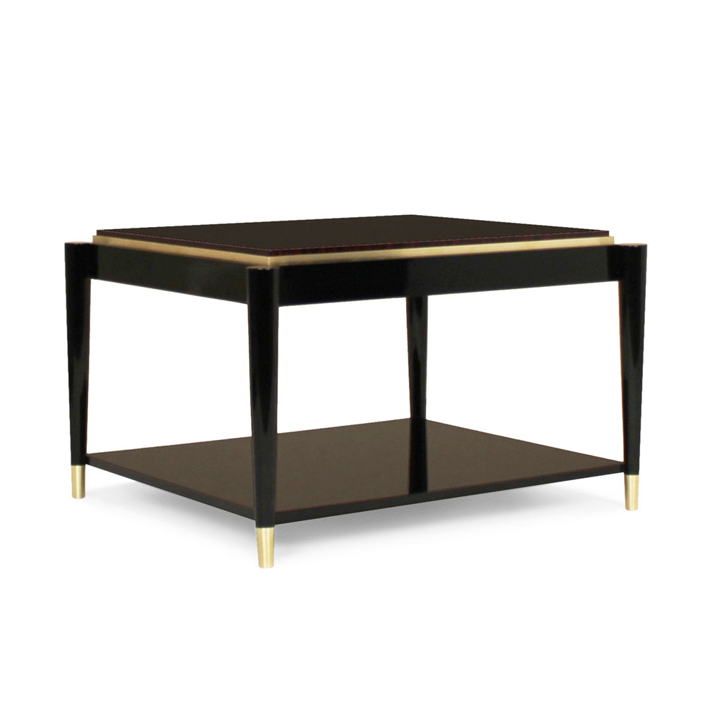Modern Square side table in lacquer and wood with brass