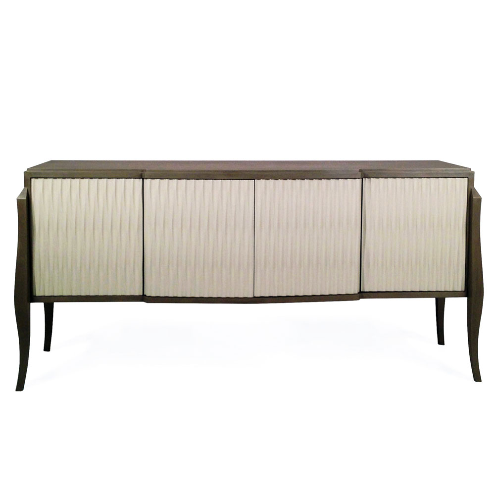 modern sideboard with textured door fronts and curved legs