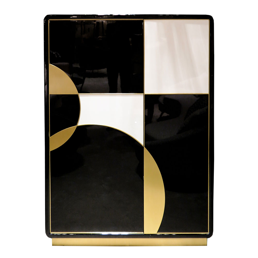 Cabinet with black and white lacquer and brass Art Deco design