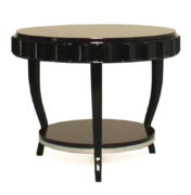 round art deco style side table in macassar and black lacquer