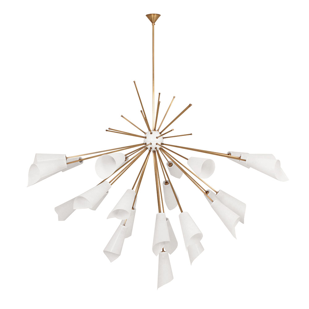 sputnik chandelier in brass white white lacquer shades