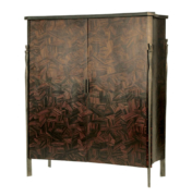 wood cabinet with bronze and marquetry macassar doors and granite top