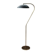 mid century style floor lamp in brass and black shade