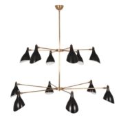 Two-tier retro vintage chandelier in brass with lacquered shades
