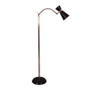 Mid-century modern brass floor lamp with conical shade in lacquer