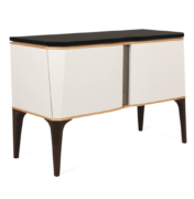 modern 2 door cabinet on 4 legs in lacquer with brass trim and granite top