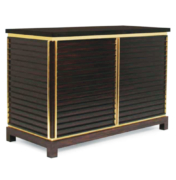 Modern 2 door cabinet in wood with brass trim and stone top