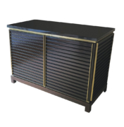 modern 2 door cabinet sideboard in lacquer with brass trip and stone top