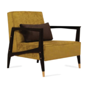 Mid-century modern chair with upholstered seat and back with wood arms and legs and brass feet