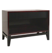 Modern wood nightstand with lacquered drawer and open shelf on lacquered base
