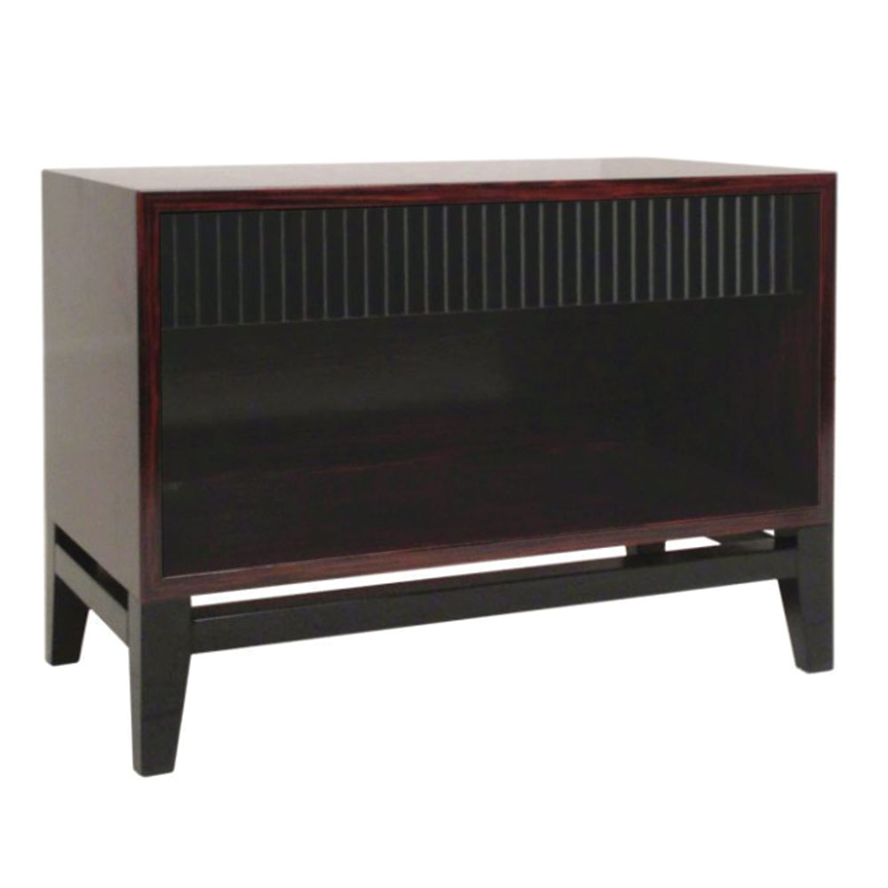 Modern wood nightstand with fluted lacquer drawer and open shelf on lacquered base