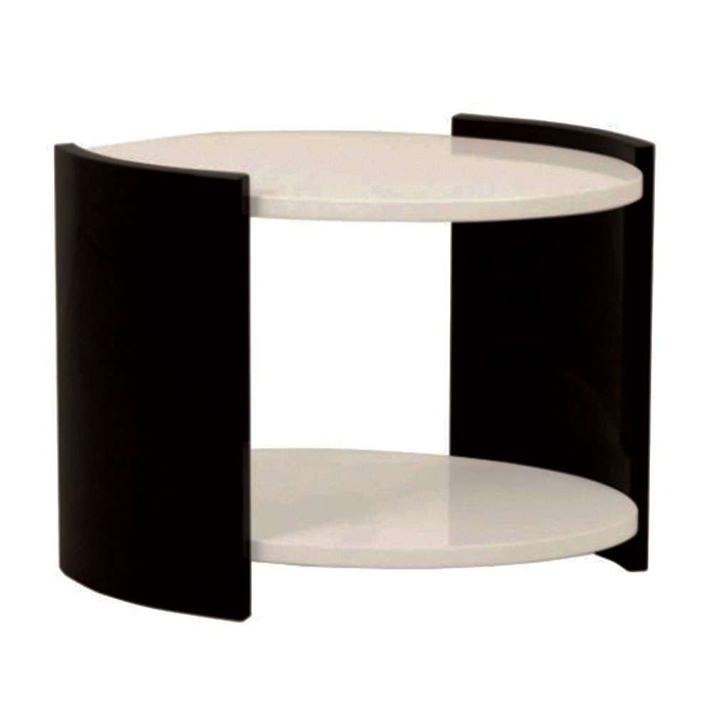Modern round side table in white and black lacquer