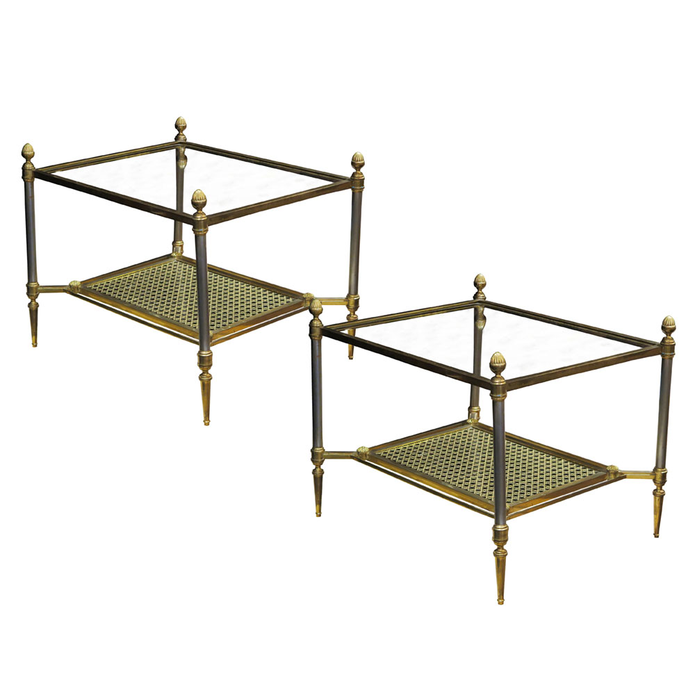Pair of antique art deco side tables in brass glass and cane
