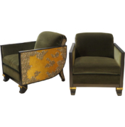 Art Deco Chairs with Modern Relief Carving like Gustav Klimt