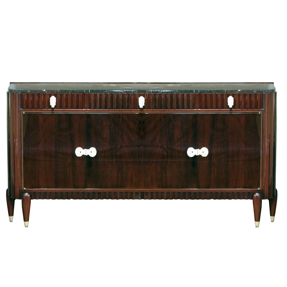 Rosewood sideboard with ivory hardware and handles and marble top