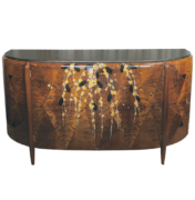 Michel Dufet art deco sidbeoard with floral inlay marquetry in walnut and granite top