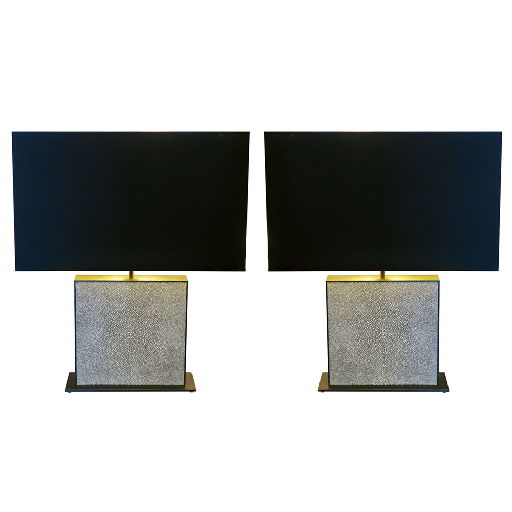Modern shagreen and brass table lamps