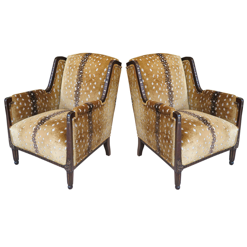 antique Art Deco chairs in antelope fabric and wood and gold leaf details