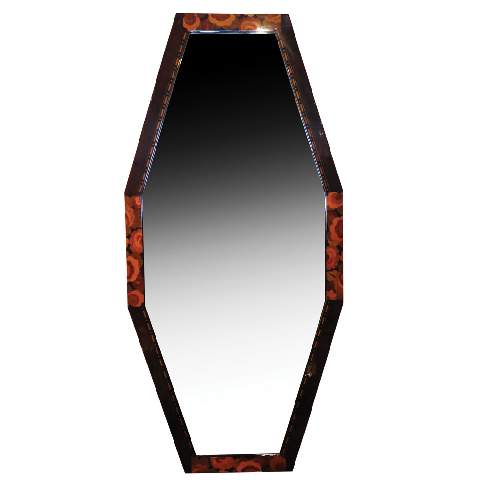 Art Nouveau mirror with floral marquetry inlays