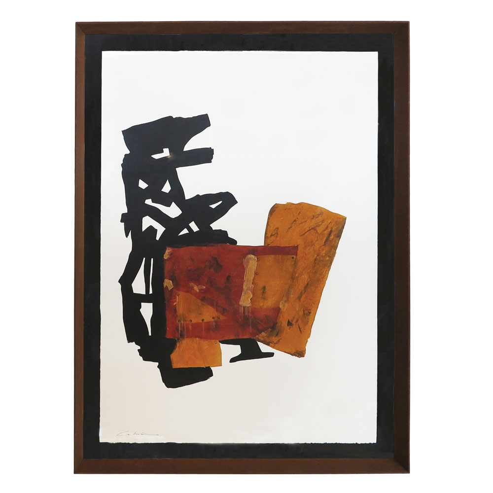 Black and brown abstract painting on paper with rusted frame