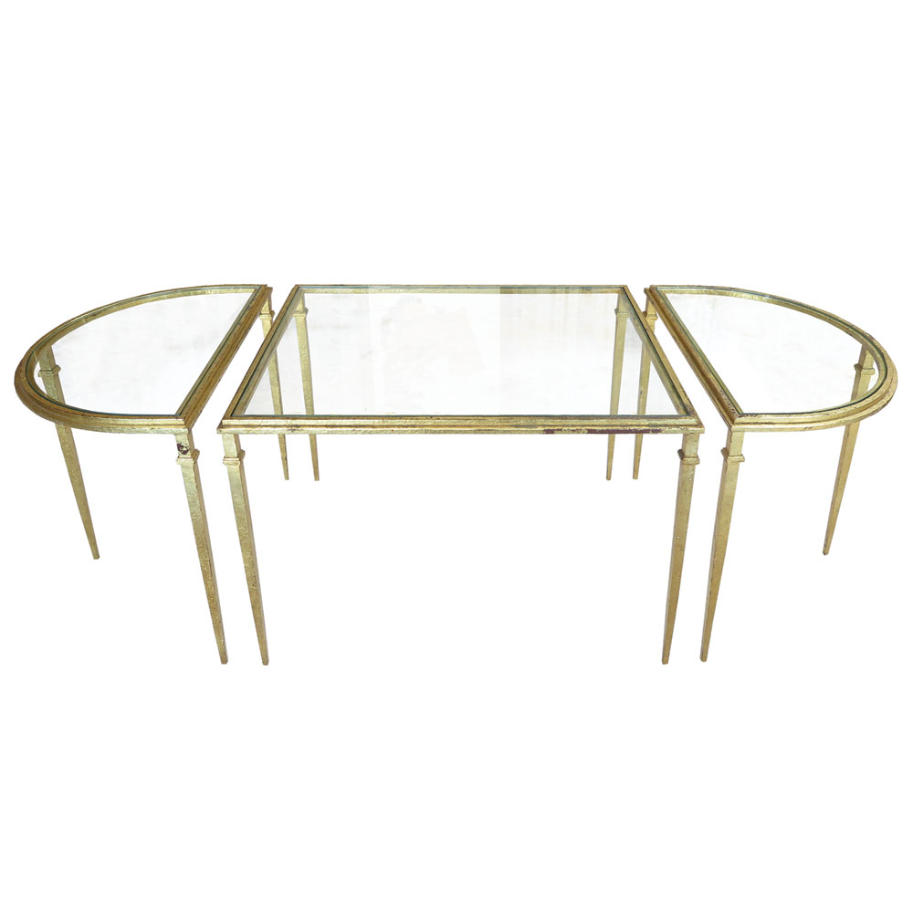 antique art deco wrought iron coffee table with glass and gold leaf