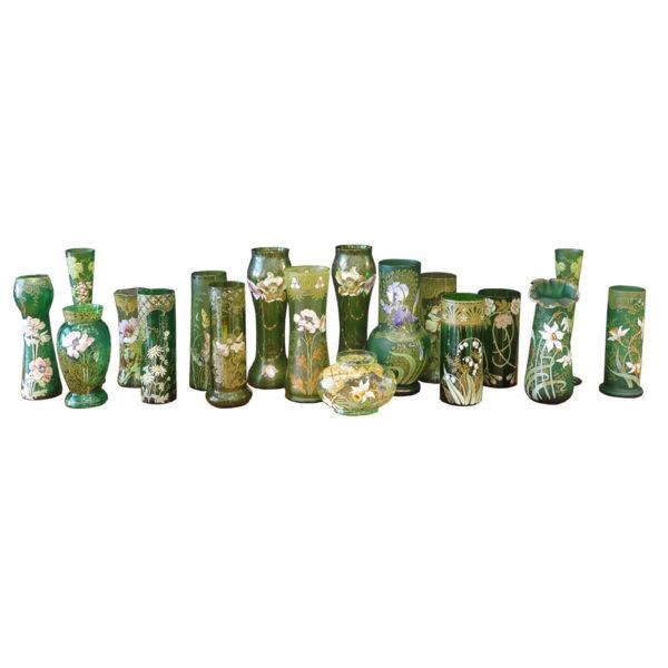 Art Nouveau style green vases with florals