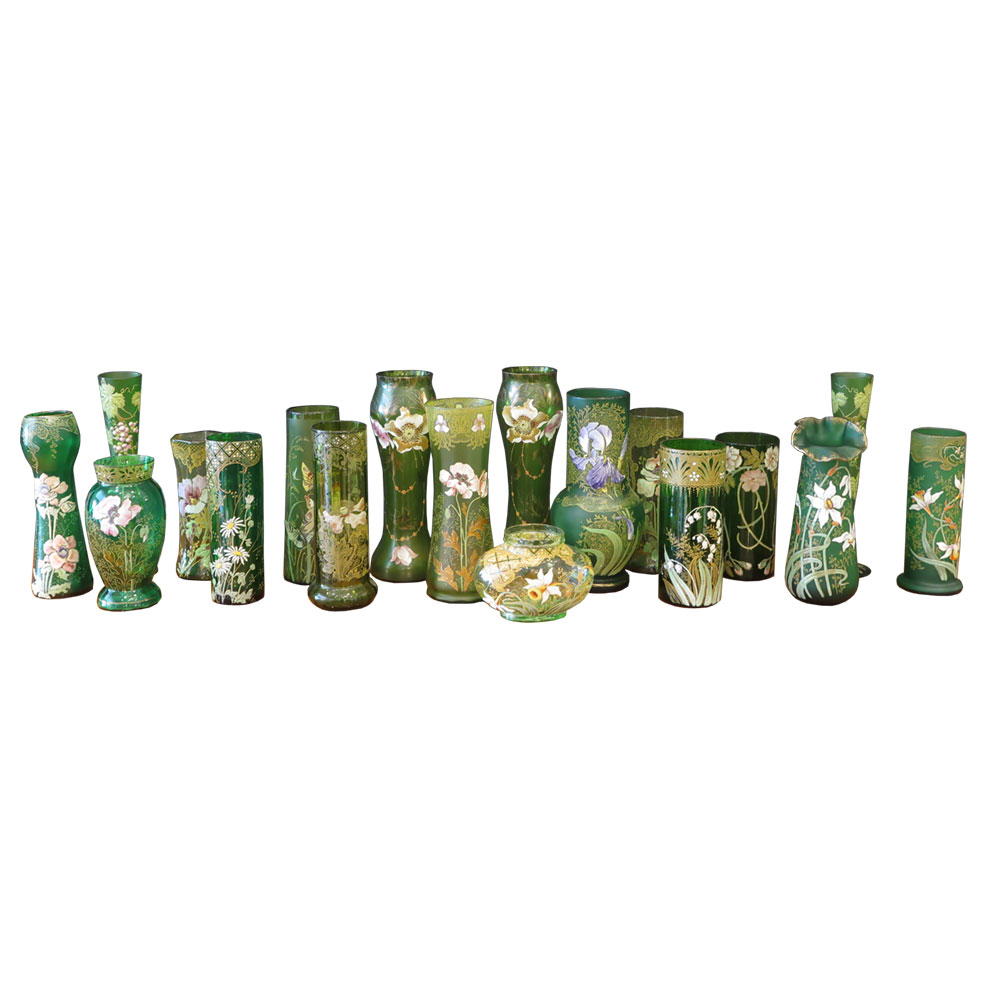 Art Nouveau style green vases with florals