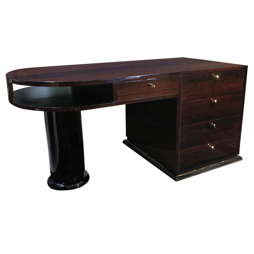 antique art deco desk in Macassar wroth half rounded design