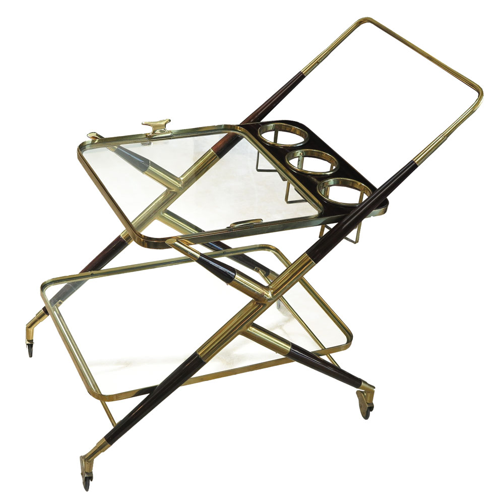 Mid century bar cart in brass with glass and mahogany