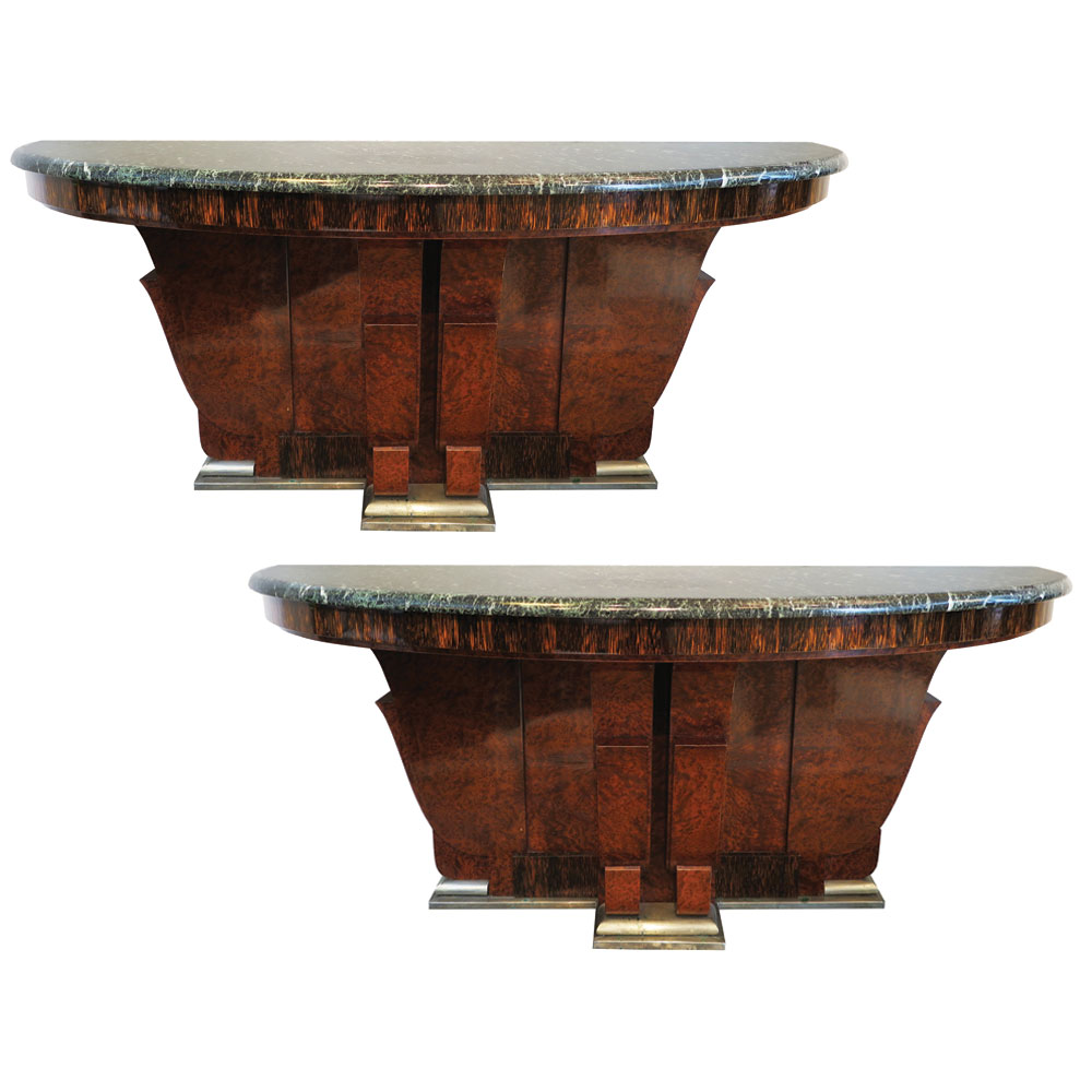Art Deco demilune consoles in burl and marble
