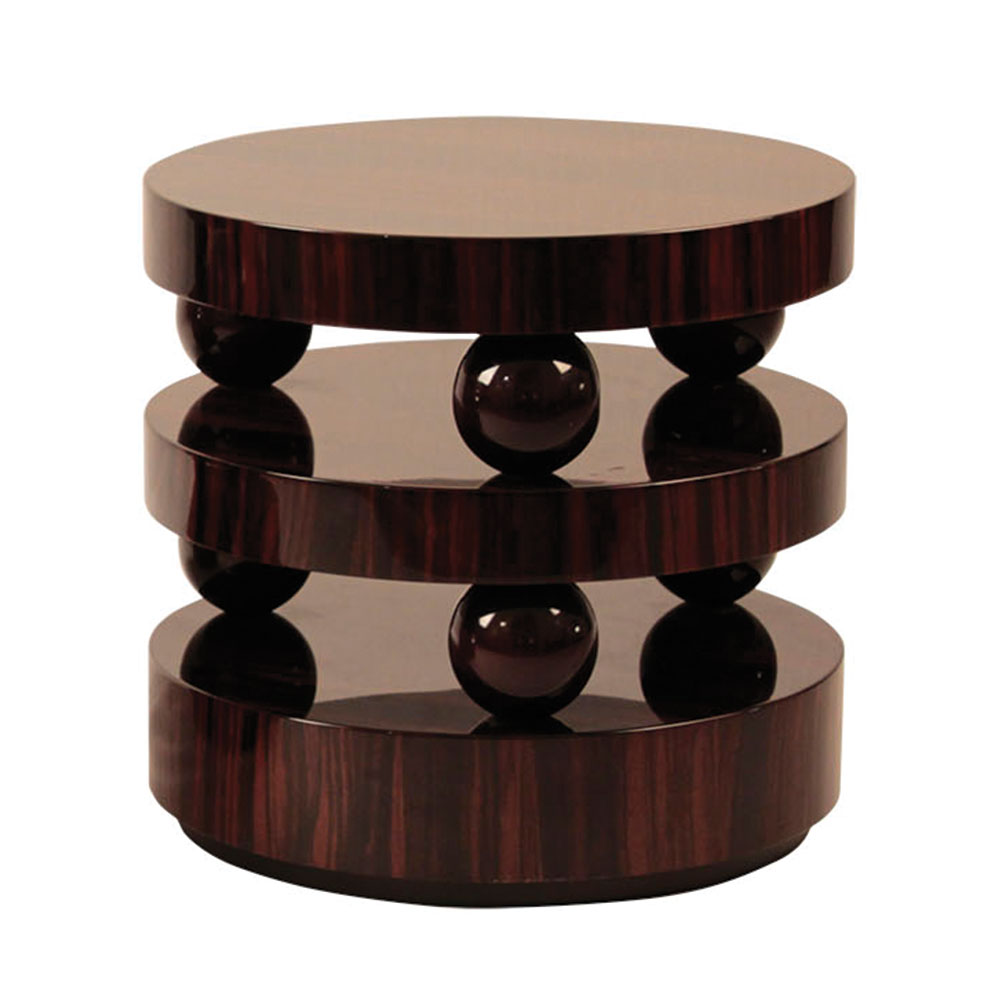 three tier round side table in exotic wood and high gloss