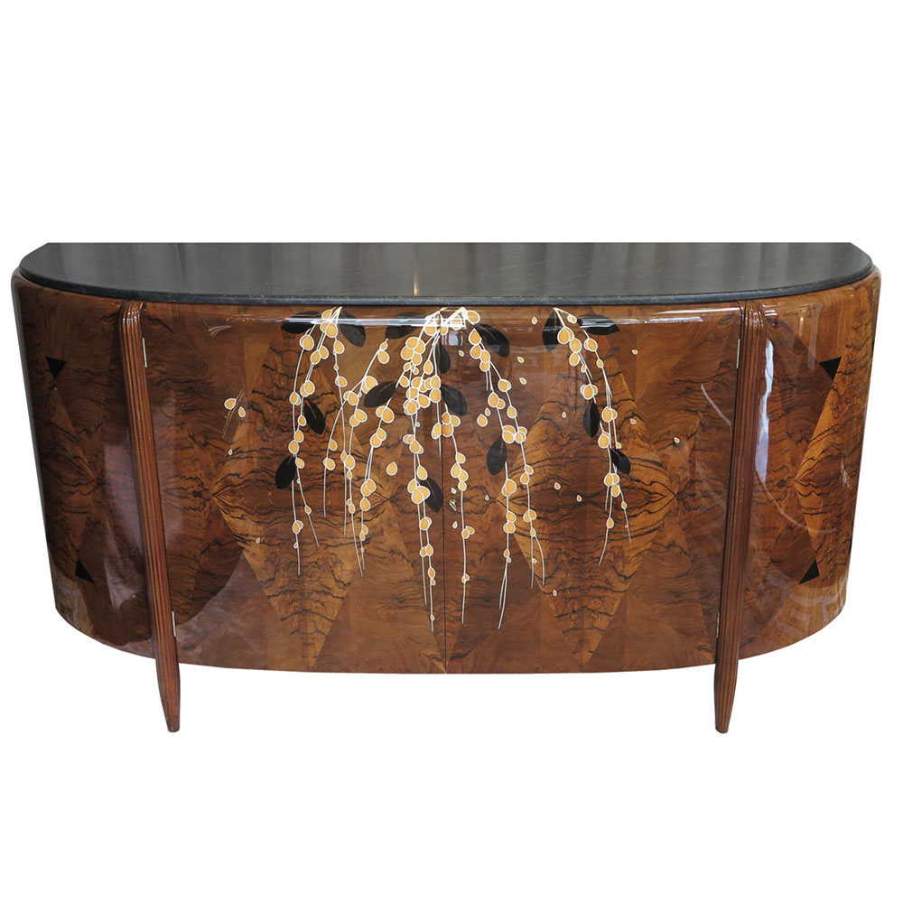 Antique Art Deco Michel Dufet marquetry sideboard with dark grey marble top and floral inlays