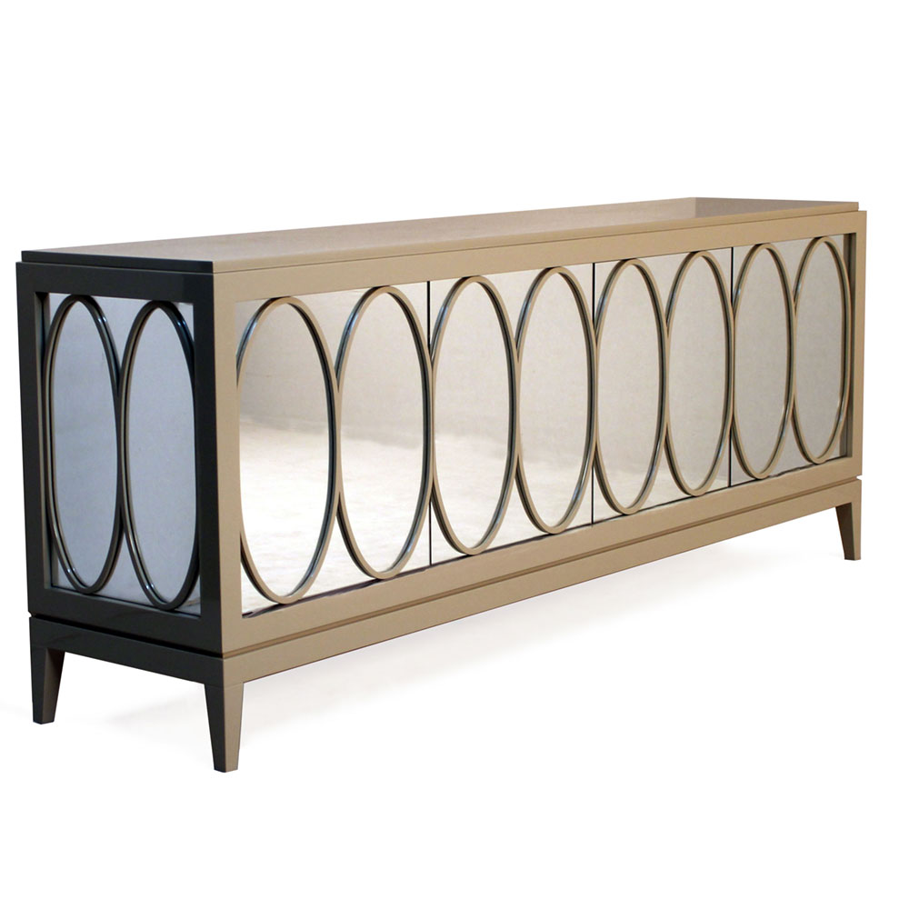 Sideboard with mirror with oval design framed in wood
