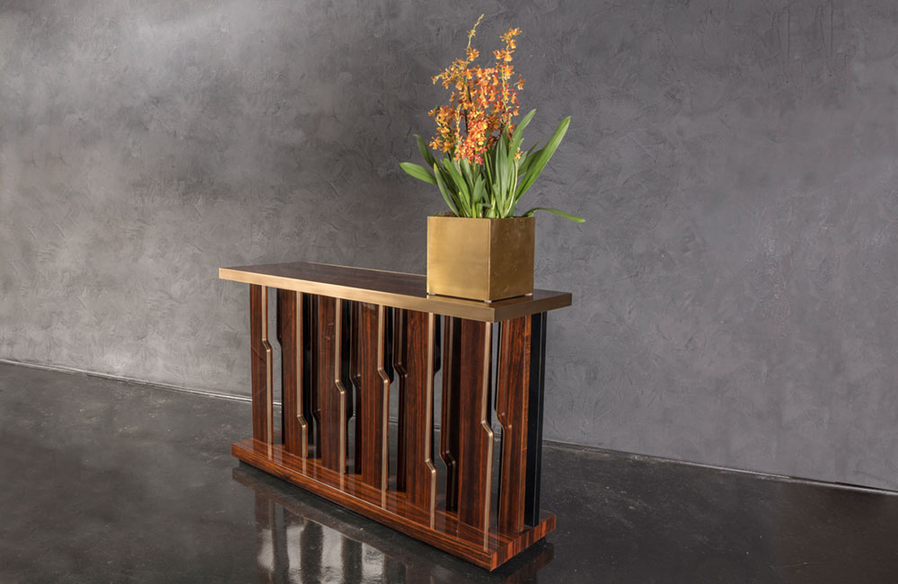 Modern console with wood and brass
