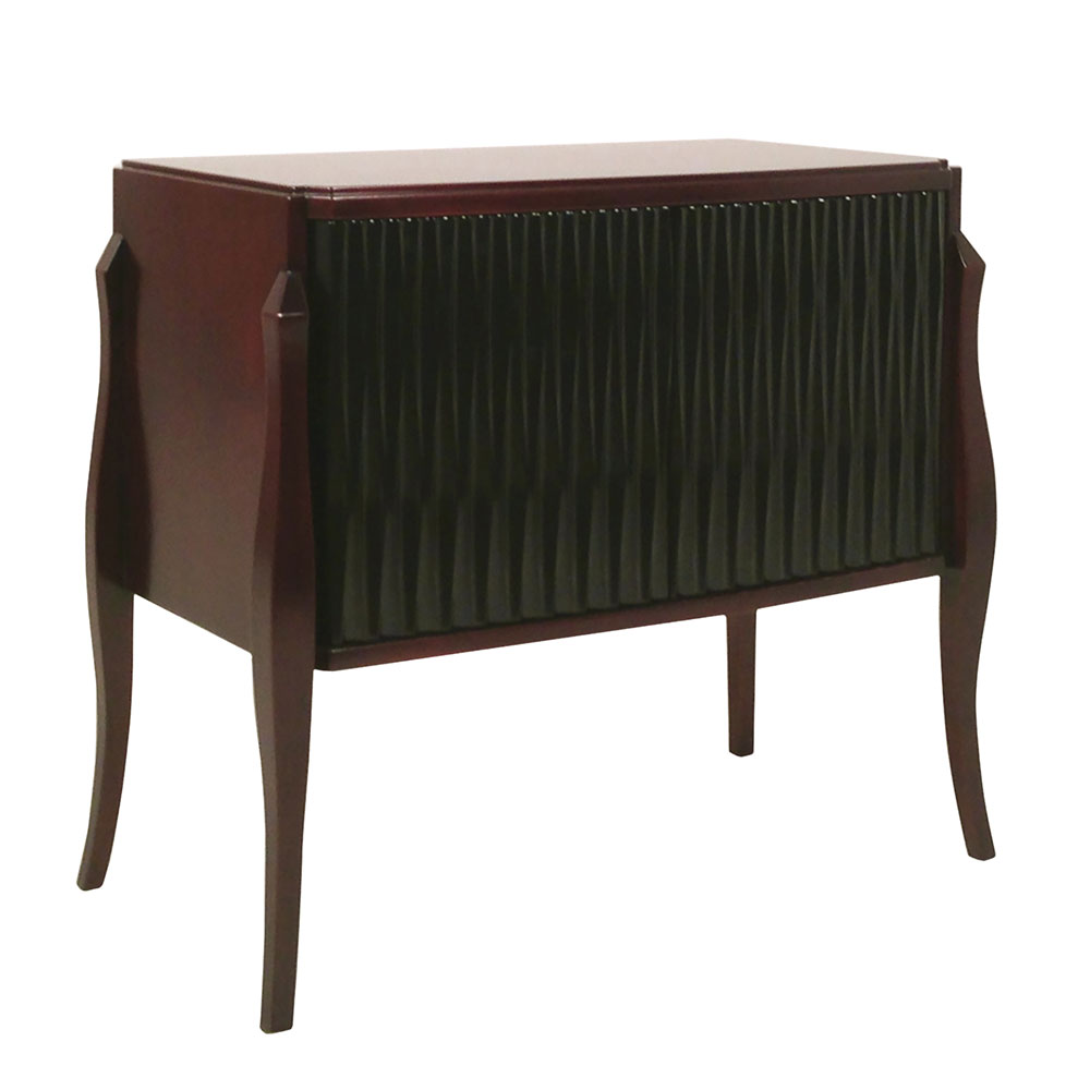 Modern cabinet nightstand with textured lacquer doors