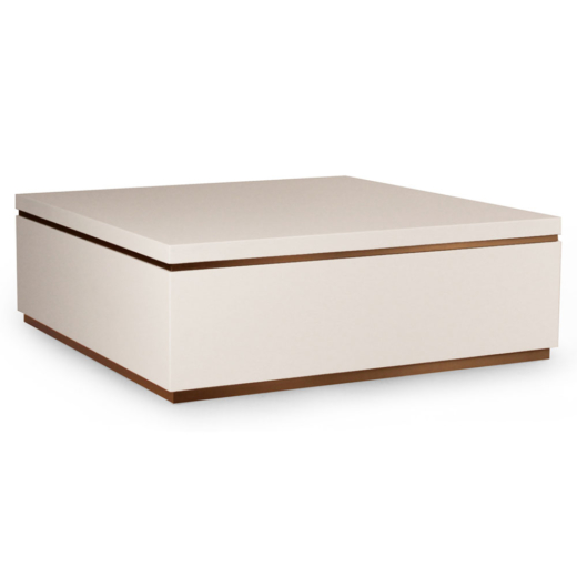 Modern Square Coffee Table In High Gloss Lacquer And Brass