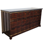 angled view of sideboard Sintonia with wood brass and granite