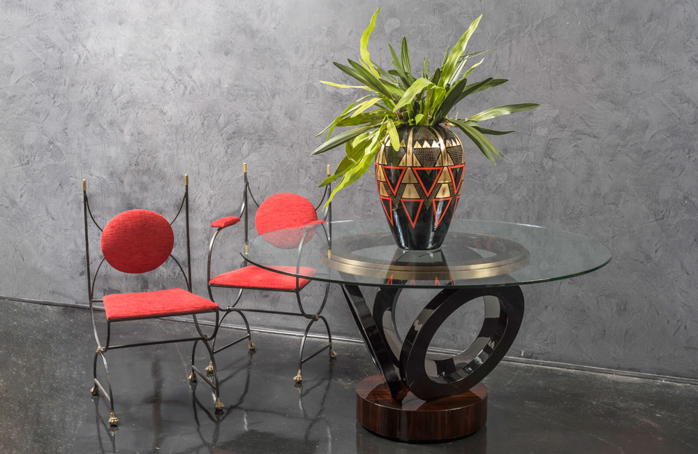 Mid century modern glass dining table and wrought iron chairs