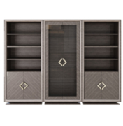 Grey Sycamore Cabinet with vitrine glass doors lower cabinets and shelving