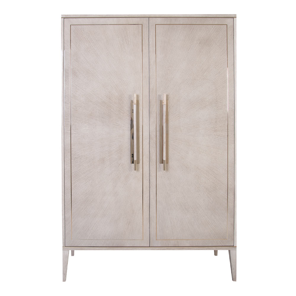 Tall Modern Bar cabinet in Eucalyptus wood and brass