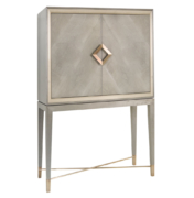 Modern bar cabinet in sycamore with brushed brass