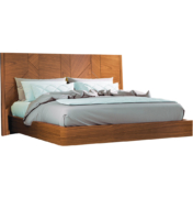 Modern bed in walnut wood with patchwork design on headboard