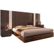 large modern bed with art deco style in Macassar ebony and upholstery