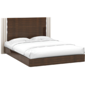 Modern Art Deco style bed in Macassar wood