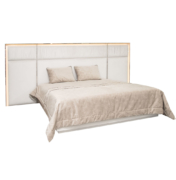 Modern bed with pleated upholstered, brass details, lacquer frame and LED lighting